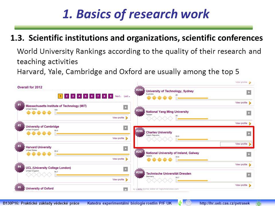 Scientific research is usually inherent part of the mission of good university B130P16: Praktické základy vědecké práce Katedra experimentální biologie rostlin PřF UK http:/lhr.ueb.cas.cz/petrasek 1.3.