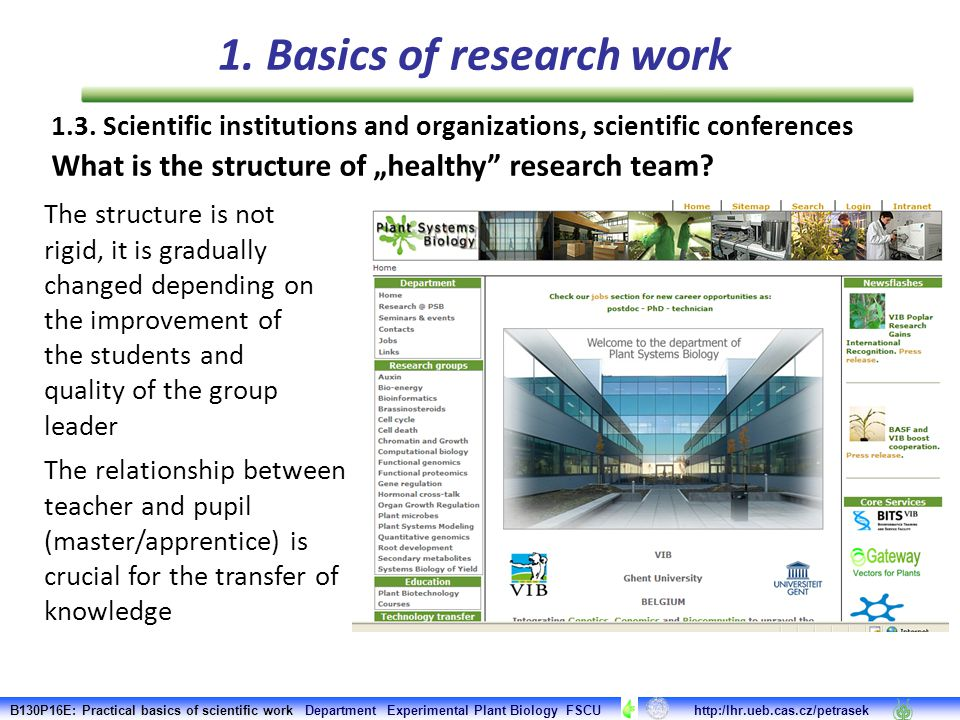"""1.3. Scientific institutions and organizations, scientific conferences What is the structure of """"healthy"""" research team? The structure is not rigid, i"""