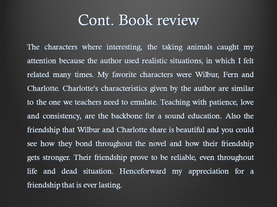 Cont.Book review Cont.