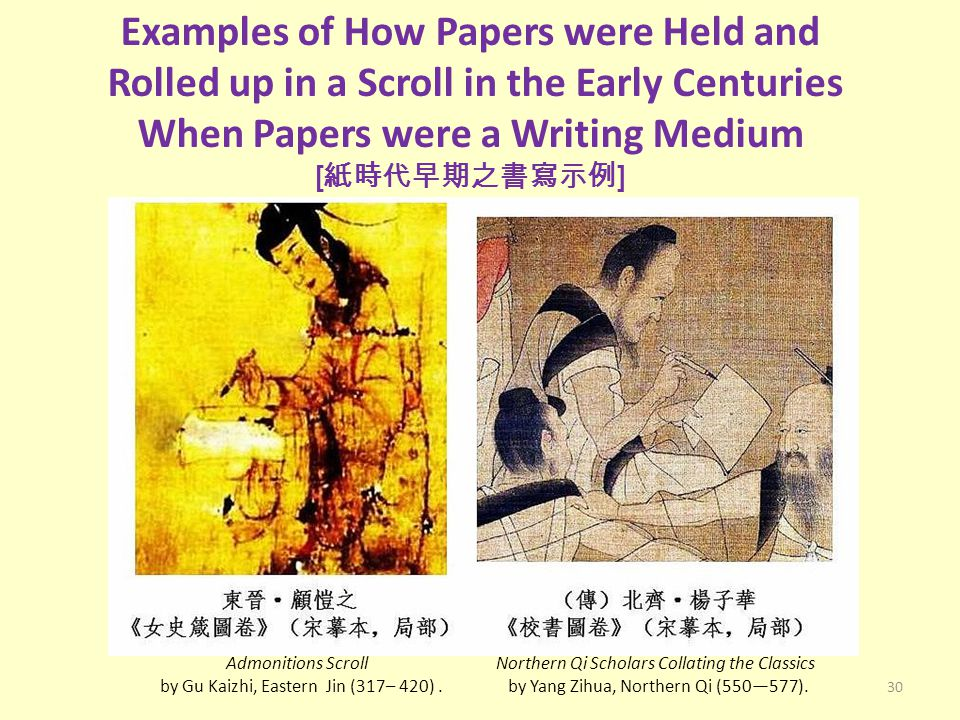 30 Examples of How Papers were Held and Rolled up in a Scroll in the Early Centuries When Papers were a Writing Medium [ 紙時代早期之書寫示例 ] Admonitions Scro