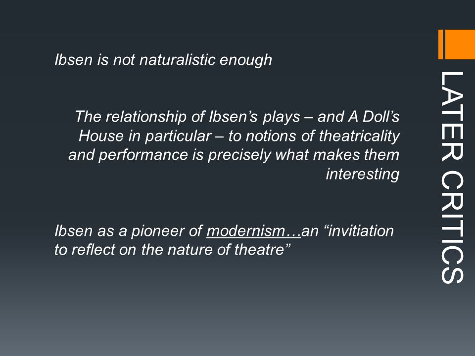 LATER CRITICS The interpreters of Nora – an essential dimension to understanding of how different generations have understood Ibsen.