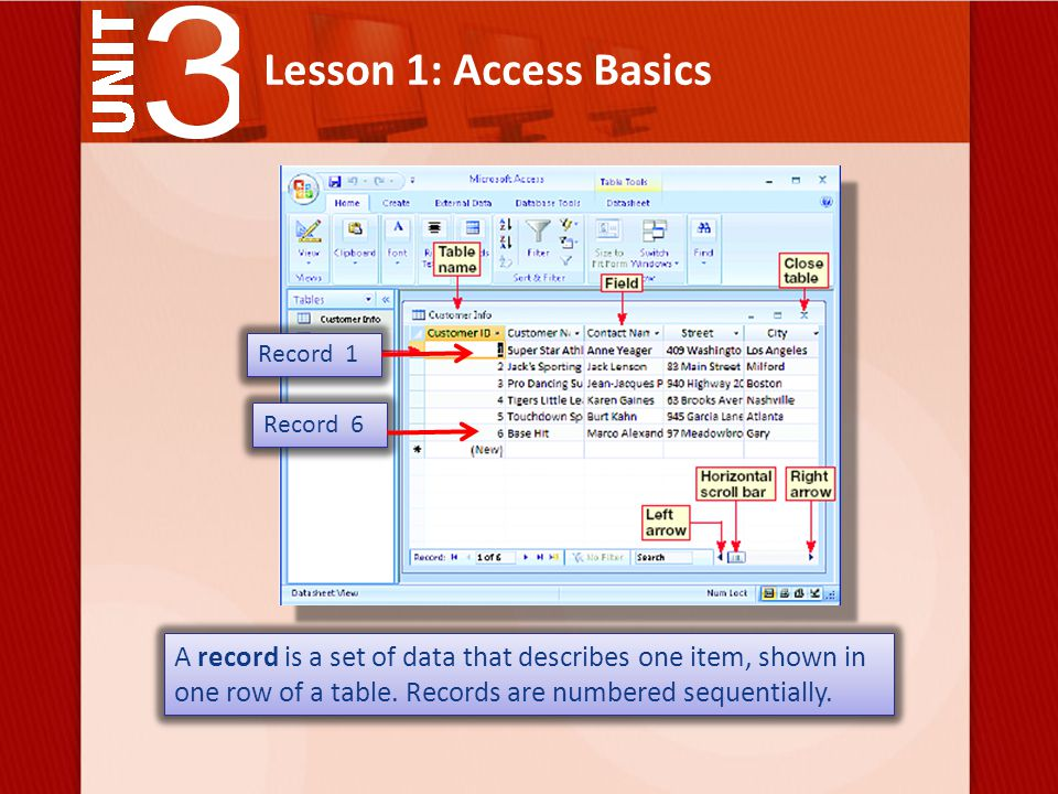 Lesson 1: Access Basics A record is a set of data that describes one item, shown in one row of a table.