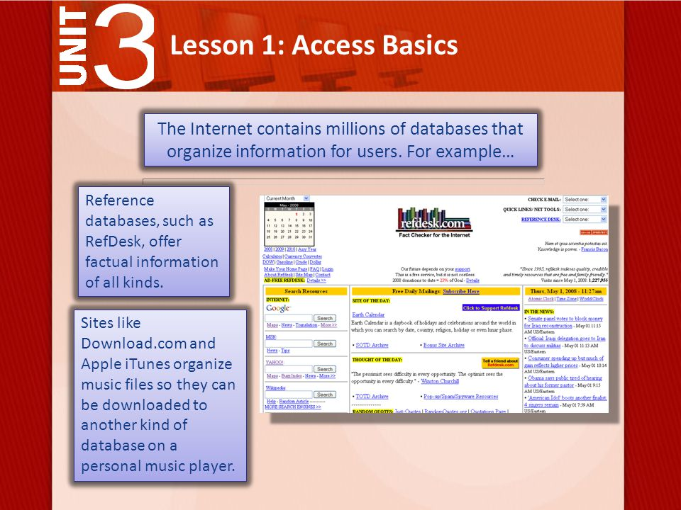 Lesson 1: Access Basics field One piece of data that describes something. Vocabulary Review
