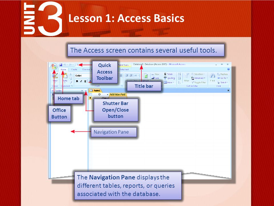 Lesson 1: Access Basics Navigation Pane Quick Access Toolbar The Access screen contains several useful tools.