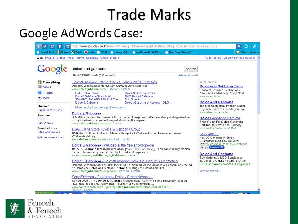 Trade Marks Google AdWords Case: