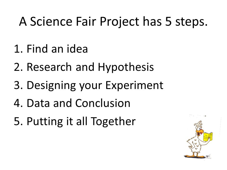 A Science Fair Project has 5 steps.