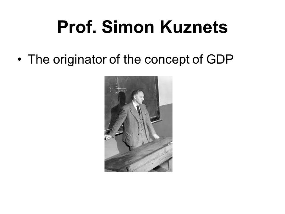 Prof. Simon Kuznets The originator of the concept of GDP