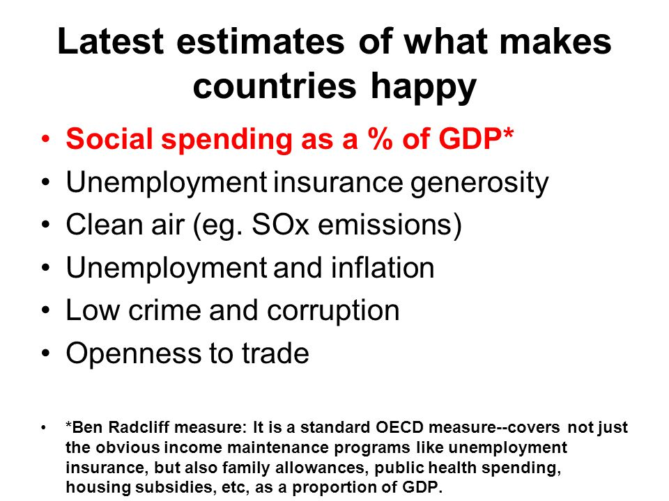 Latest estimates of what makes countries happy Social spending as a % of GDP* Unemployment insurance generosity Clean air (eg. SOx emissions) Unemploy