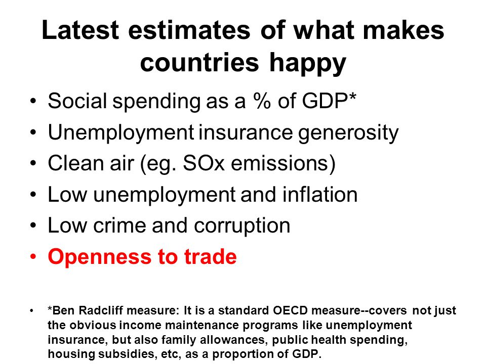 Latest estimates of what makes countries happy Social spending as a % of GDP* Unemployment insurance generosity Clean air (eg. SOx emissions) Low unem