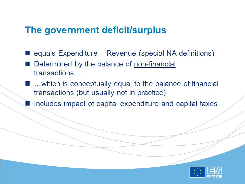 The Excessive Deficit Procedure Maastricht Treaty (1992) sets convergence criteria thresholds as… General government deficit 3% of GDP (same as national accounts except interest on swaps / FRAs treated differently) General government debt 60% of GDP (measured gross and consolidated, at nominal value, only selected instruments) European Commission (Eurostat) responsible for providing the data –In practice countries compile and Eurostat validates