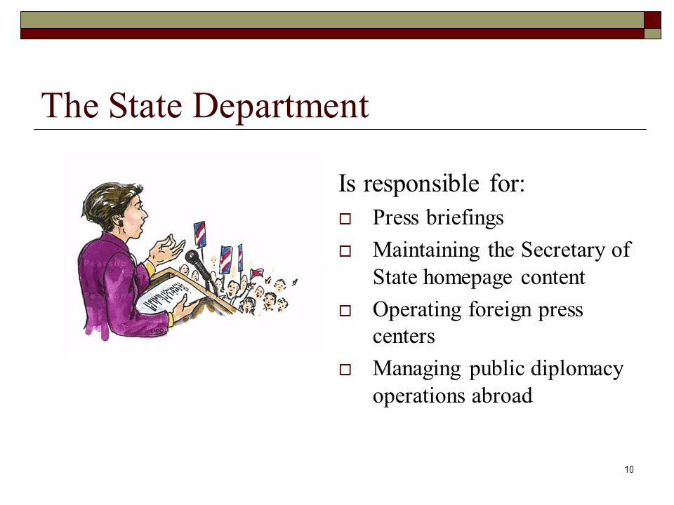 10 The State Department Is responsible for:  Press briefings  Maintaining the Secretary of State homepage content  Operating foreign press centers  Managing public diplomacy operations abroad