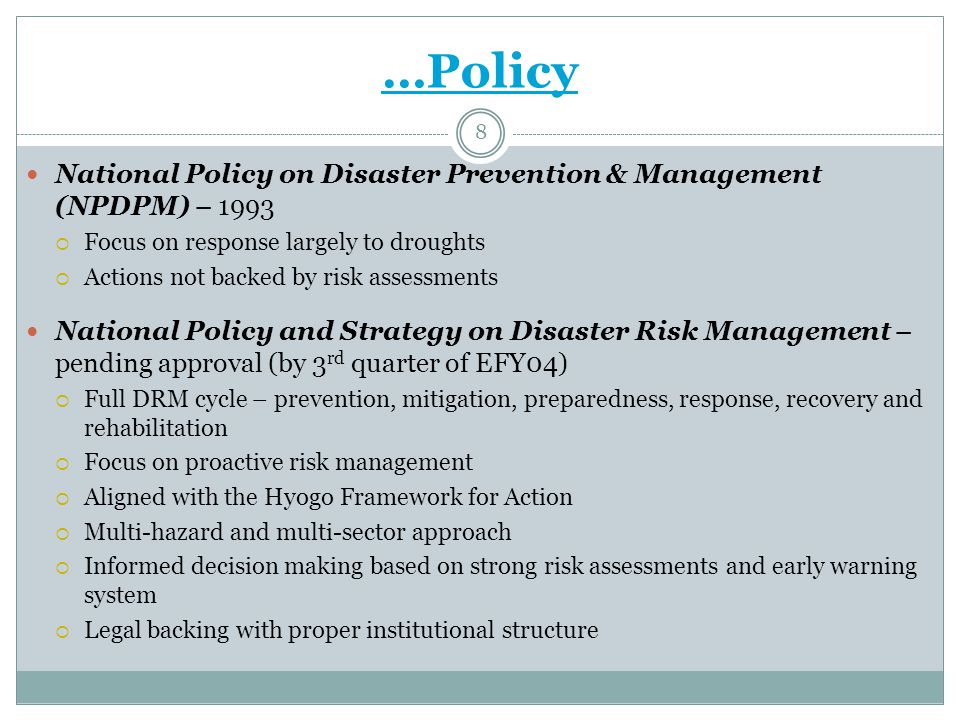 Ongoing and planned undertakings: RT Practice- Risk Financing Mechanism Initiated in 2006 and evolved to the level now being seen as an integral part of PSNP It is a mechanism to address additional caseloads in PSNP weredas in the event of disasters Preventing non-PSNP beneficiaries from adopting destructive coping strategies and falling into chronic food insecurity Early response to disasters through scaling up of the PSNP prevents them from becoming emergency.