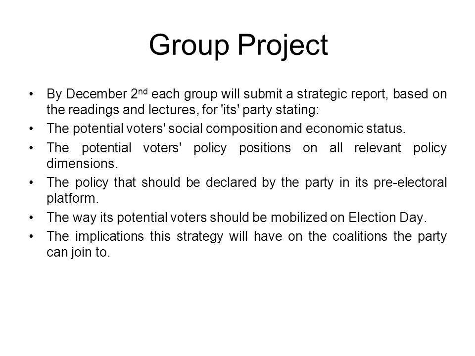 Group Project By December 2 nd each group will submit a strategic report, based on the readings and lectures, for its party stating: The potential voters social composition and economic status.