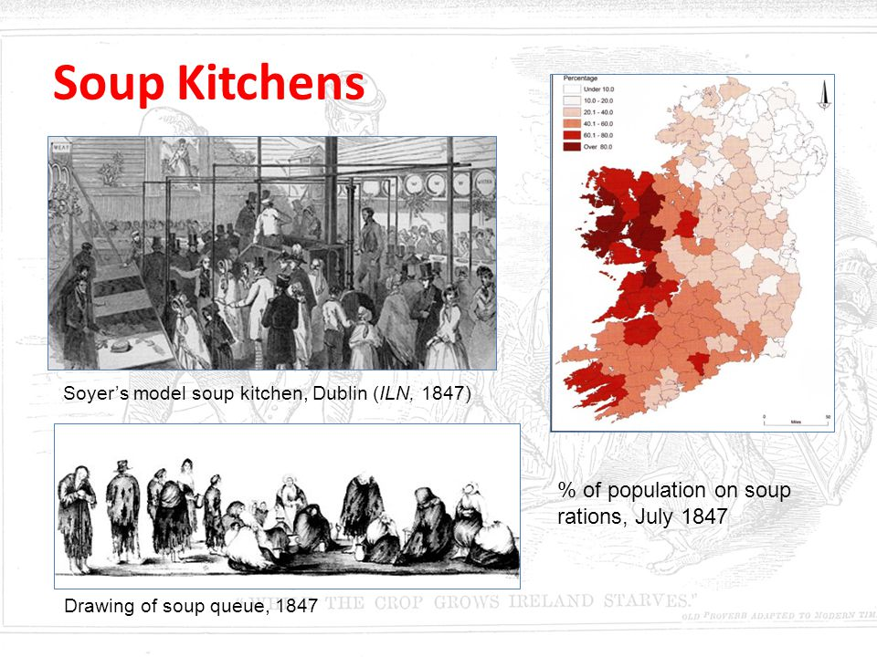 Soup Kitchens % of population on soup rations, July 1847 Soyer's model soup kitchen, Dublin (ILN, 1847) Drawing of soup queue, 1847