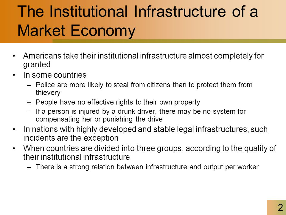 2 The Institutional Infrastructure of a Market Economy Americans take their institutional infrastructure almost completely for granted In some countri