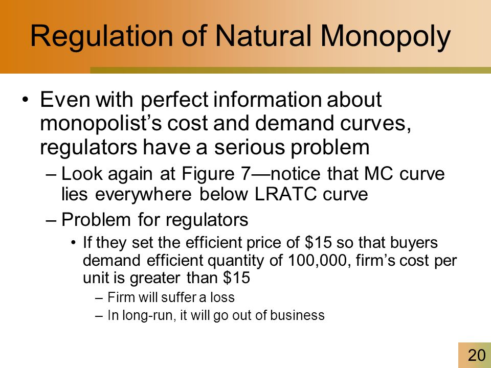 20 Regulation of Natural Monopoly Even with perfect information about monopolist's cost and demand curves, regulators have a serious problem –Look again at Figure 7—notice that MC curve lies everywhere below LRATC curve –Problem for regulators If they set the efficient price of $15 so that buyers demand efficient quantity of 100,000, firm's cost per unit is greater than $15 –Firm will suffer a loss –In long-run, it will go out of business