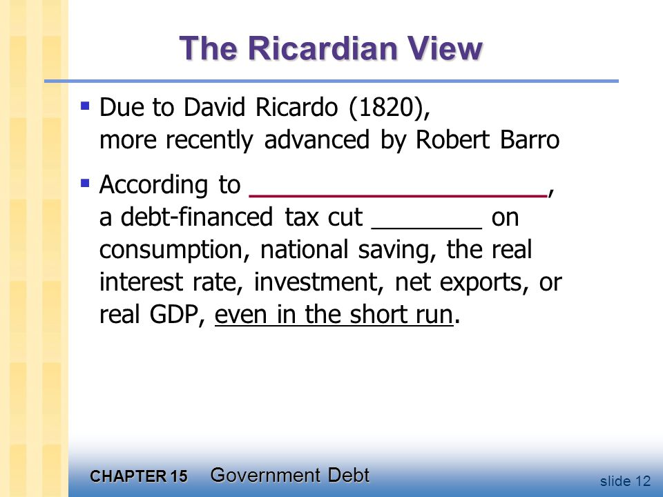 CHAPTER 15 Government Debt slide 12 The Ricardian View  Due to David Ricardo (1820), more recently advanced by Robert Barro  According to __________________, a debt-financed tax cut ________ on consumption, national saving, the real interest rate, investment, net exports, or real GDP, even in the short run.