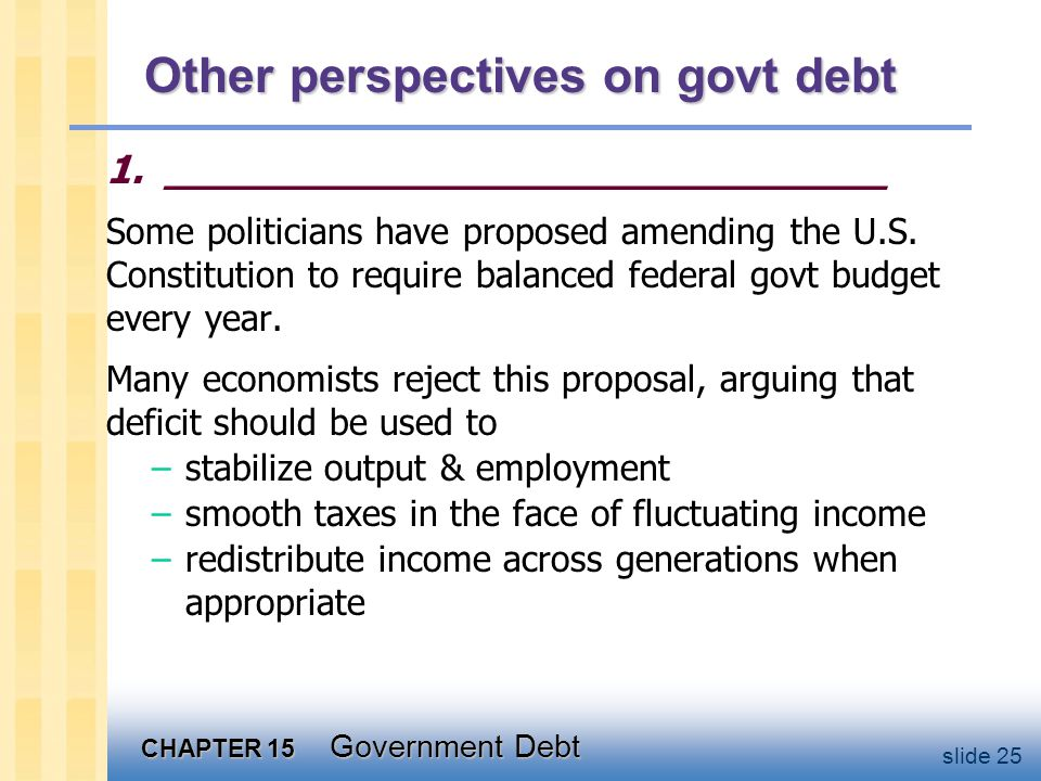 CHAPTER 15 Government Debt slide 25 Other perspectives on govt debt 1.