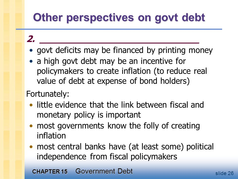 CHAPTER 15 Government Debt slide 26 Other perspectives on govt debt 2.