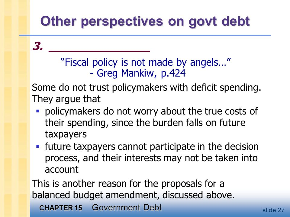 CHAPTER 15 Government Debt slide 27 Other perspectives on govt debt 3.