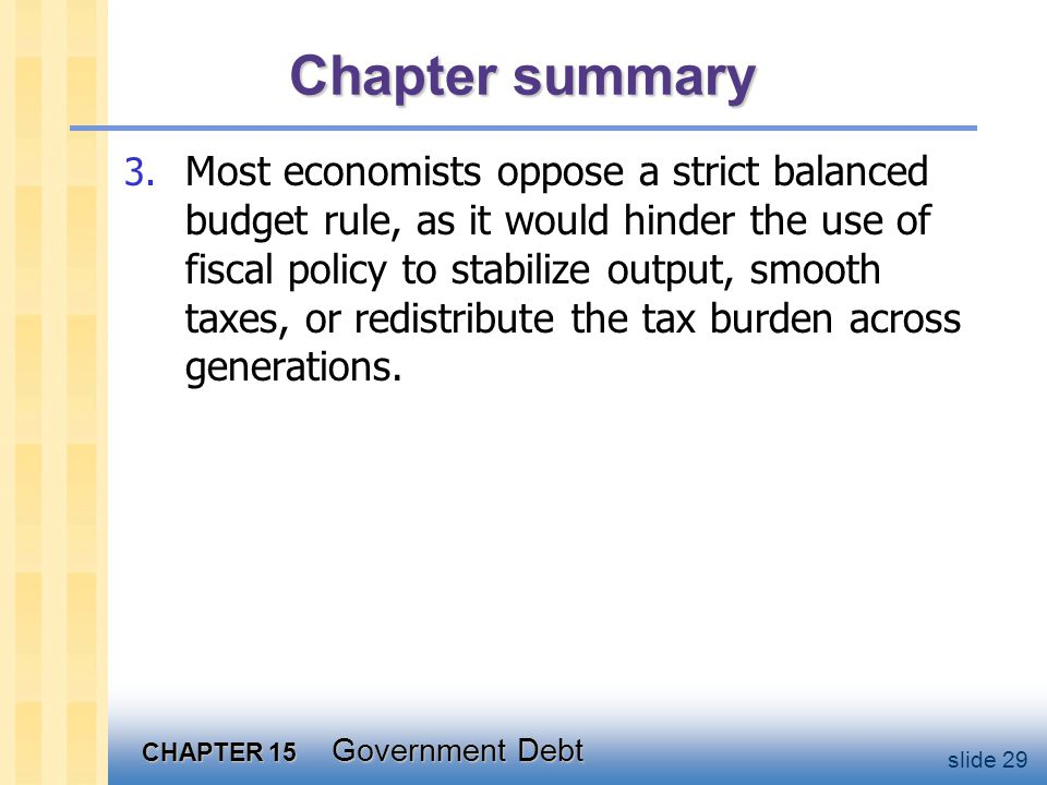 CHAPTER 15 Government Debt slide 29 Chapter summary 3.