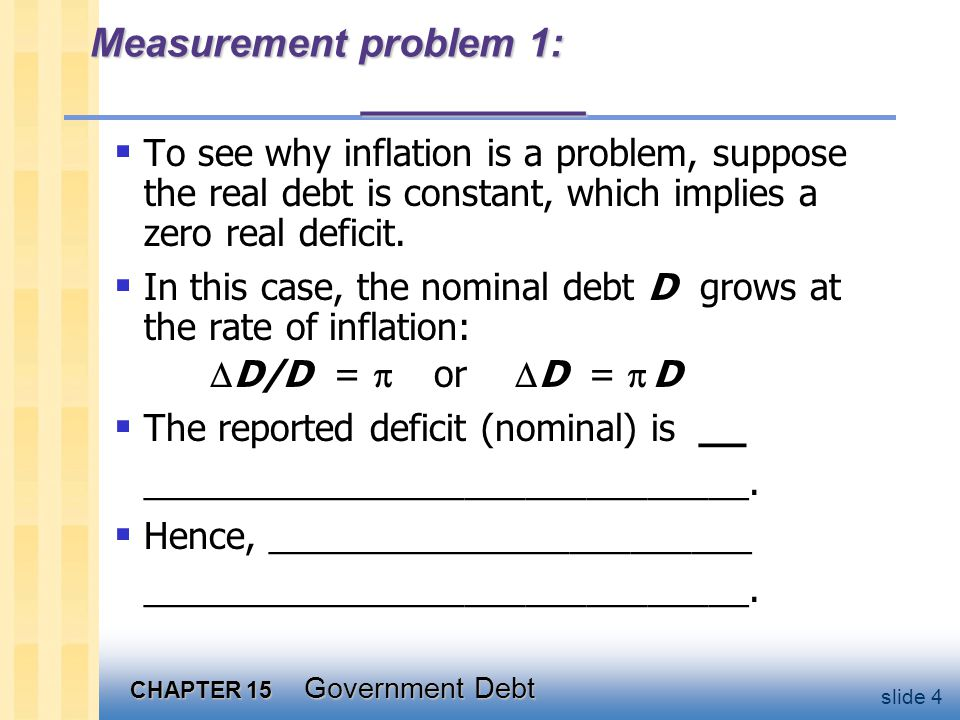 CHAPTER 15 Government Debt slide 4 Measurement problem 1: _________  To see why inflation is a problem, suppose the real debt is constant, which implies a zero real deficit.