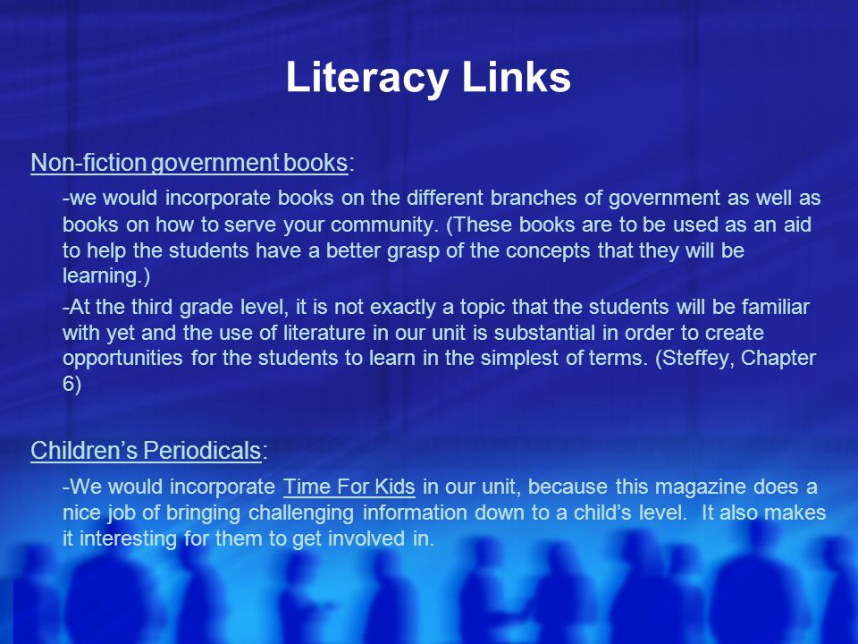 Literacy Links Non-fiction government books: -we would incorporate books on the different branches of government as well as books on how to serve your