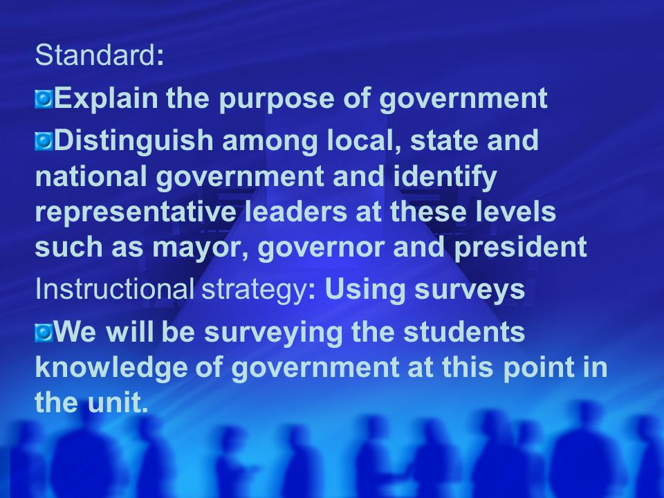 Standard: Explain the purpose of government Distinguish among local, state and national government and identify representative leaders at these levels