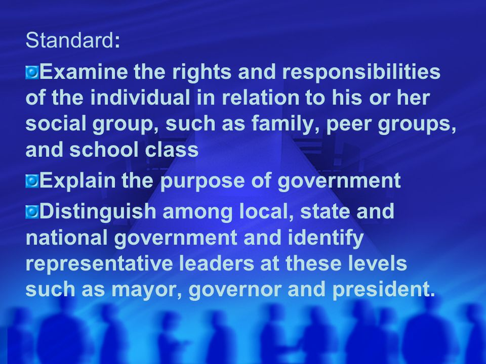 Standard: Examine the rights and responsibilities of the individual in relation to his or her social group, such as family, peer groups, and school cl