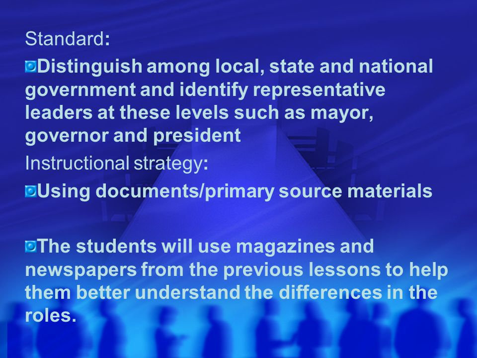 Standard: Distinguish among local, state and national government and identify representative leaders at these levels such as mayor, governor and presi