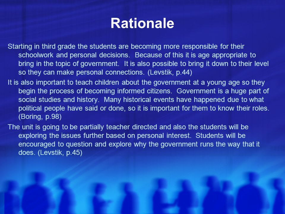Rationale Starting in third grade the students are becoming more responsible for their schoolwork and personal decisions. Because of this it is age ap
