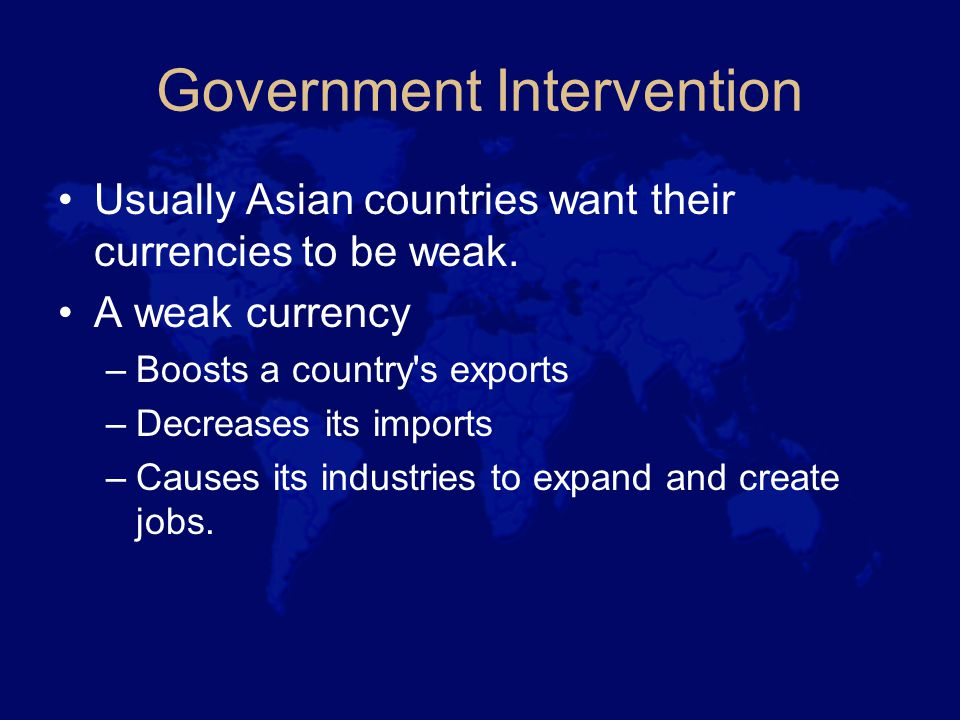 Government Intervention Usually Asian countries want their currencies to be weak.
