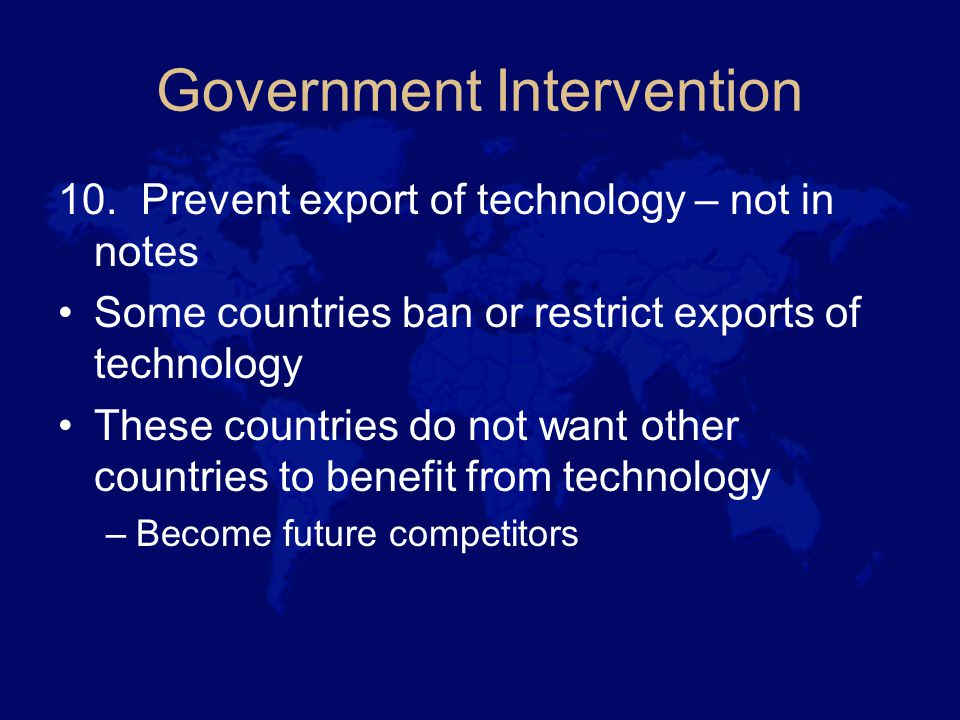 Government Intervention 10.