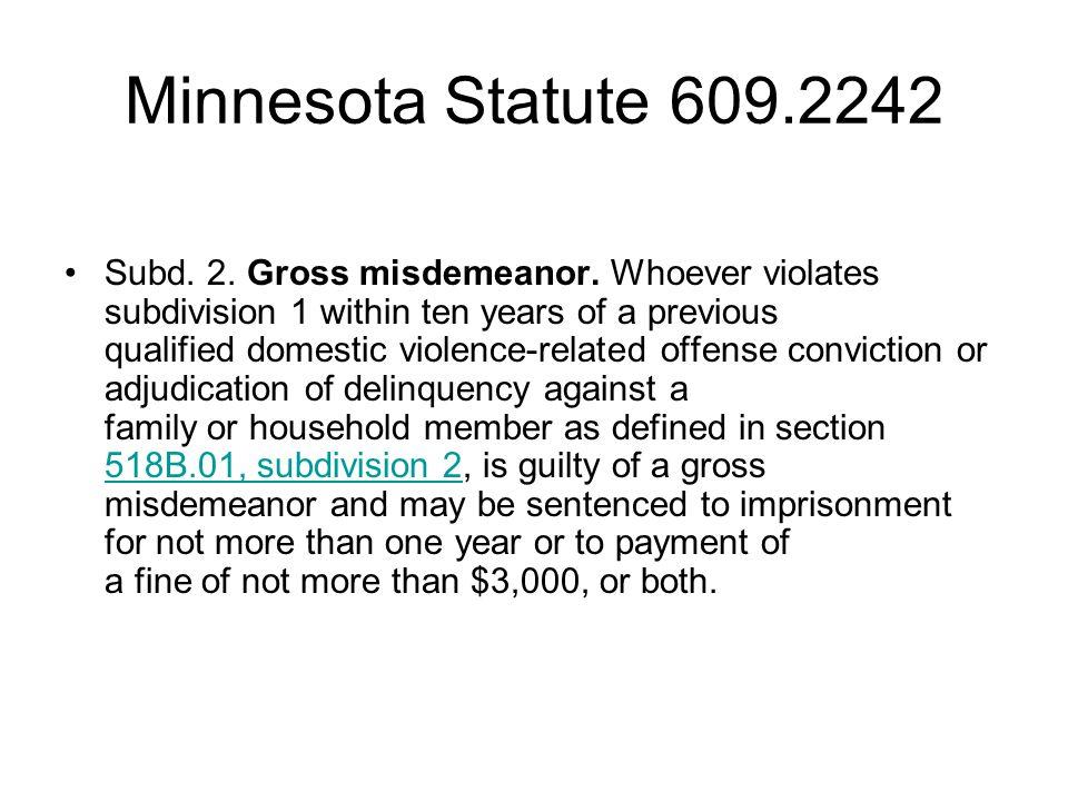Minnesota Statute 609.2242 Subd. 2. Gross misdemeanor.