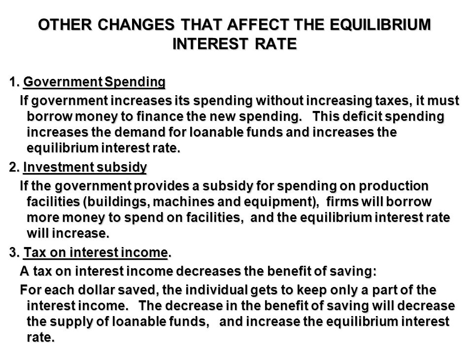 OTHER CHANGES THAT AFFECT THE EQUILIBRIUM INTEREST RATE 1.