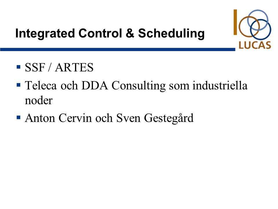 Integrated Control & Scheduling  SSF / ARTES  Teleca och DDA Consulting som industriella noder  Anton Cervin och Sven Gestegård