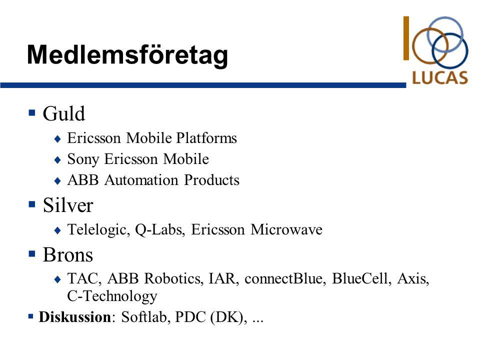 Medlemsföretag  Guld  Ericsson Mobile Platforms  Sony Ericsson Mobile  ABB Automation Products  Silver  Telelogic, Q-Labs, Ericsson Microwave  Brons  TAC, ABB Robotics, IAR, connectBlue, BlueCell, Axis, C-Technology  Diskussion: Softlab, PDC (DK),...