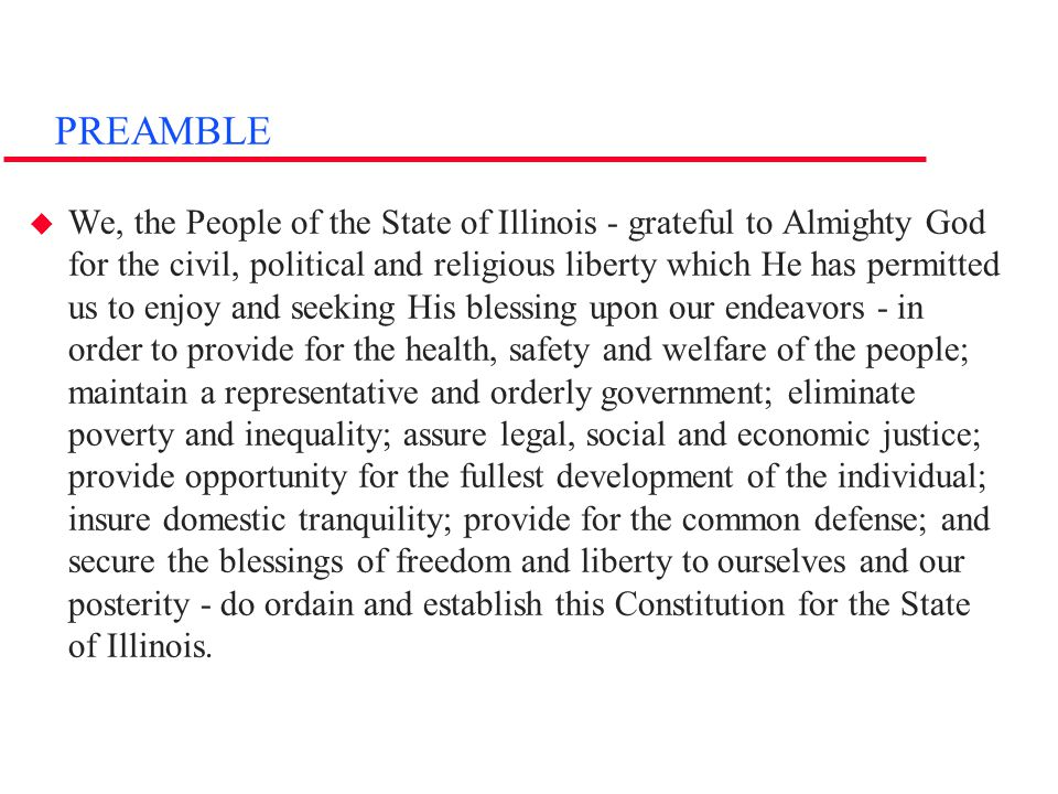 Articles I-II  Article I: BILL OF RIGHTS –makes same guarantees to IL citizens as U.S.