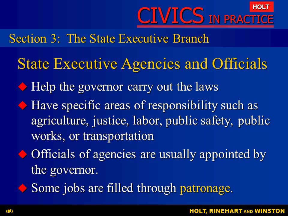 CIVICS IN PRACTICE HOLT HOLT, RINEHART AND WINSTON19 State Executive Agencies and Officials  Help the governor carry out the laws  Have specific are