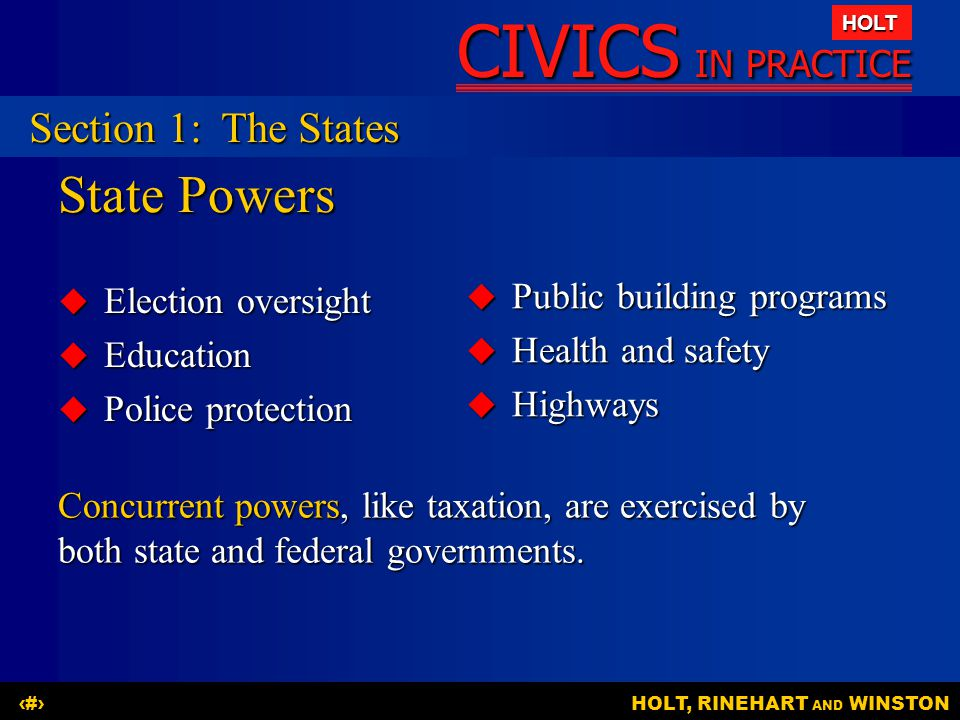 CIVICS IN PRACTICE HOLT HOLT, RINEHART AND WINSTON3 State Powers  Election oversight  Education  Police protection  Public building programs  Hea