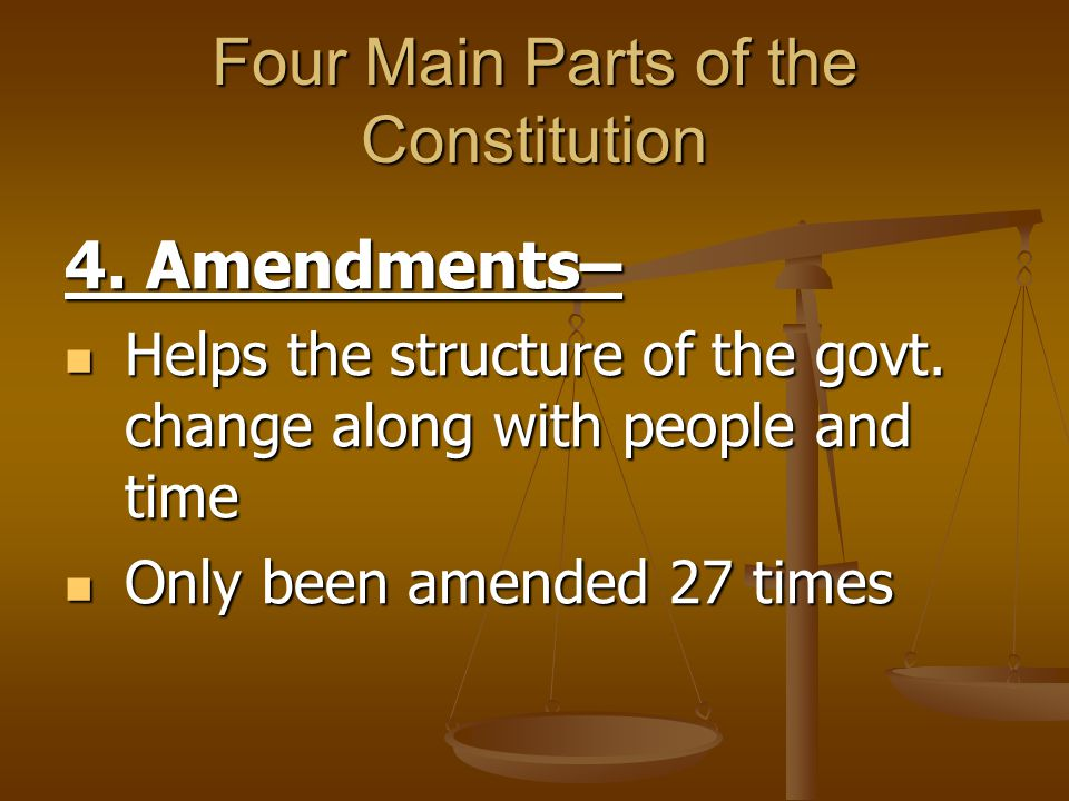 Four Main Parts of the Constitution 4. Amendments– Helps the structure of the govt. change along with people and time Helps the structure of the govt.