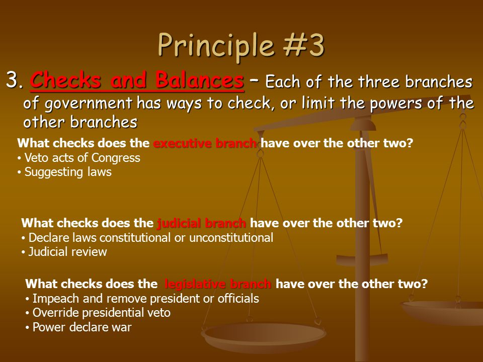 Principle #3 3. Checks and Balances – Each of the three branches of government has ways to check, or limit the powers of the other branches executive