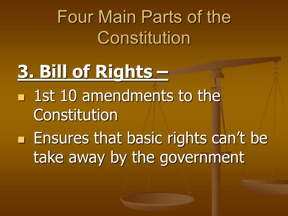 Four Main Parts of the Constitution 3. Bill of Rights – 1st 10 amendments to the Constitution 1st 10 amendments to the Constitution Ensures that basic