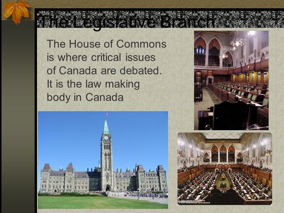 The Legislative Branch The House of Commons is where critical issues of Canada are debated. It is the law making body in Canada