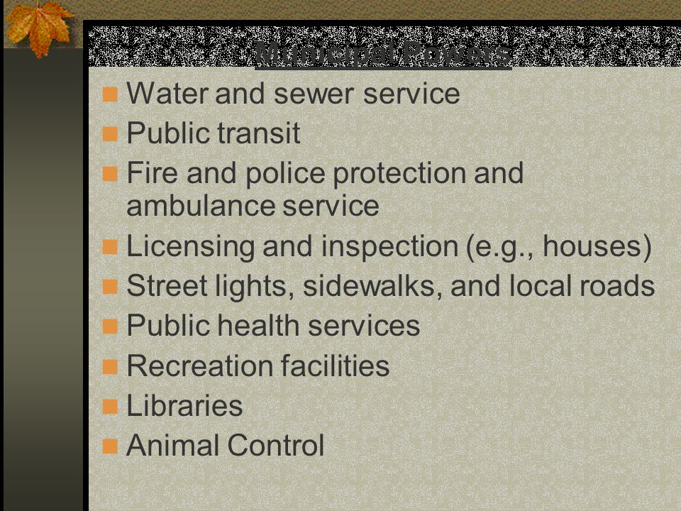 Municipal Powers Water and sewer service Public transit Fire and police protection and ambulance service Licensing and inspection (e.g., houses) Stree