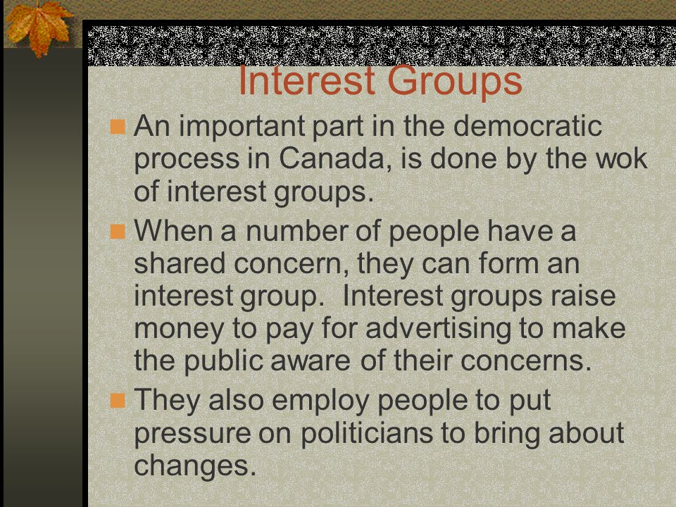 Interest Groups An important part in the democratic process in Canada, is done by the wok of interest groups. When a number of people have a shared co