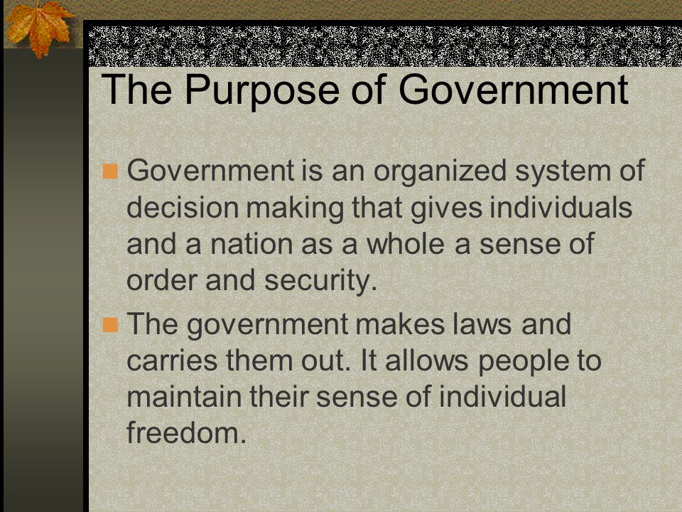 The Federal System A system of government that is responsible for handling decisions made on behalf of all Canadian Citizens.