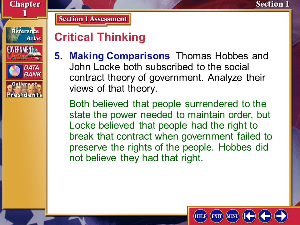 Section 1 Assessment-5 5.Making Comparisons Thomas Hobbes and John Locke both subscribed to the social contract theory of government. Analyze their vi