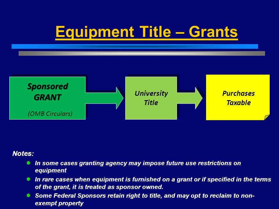 Equipment Title – Grants SponsoredGRANT University Title Purchases Taxable Notes: In some cases granting agency may impose future use restrictions on equipment In rare cases when equipment is furnished on a grant or if specified in the terms of the grant, it is treated as sponsor owned.