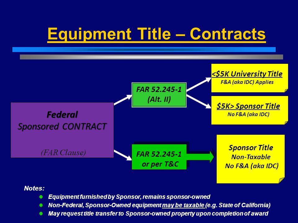 Equipment Title – Contracts Federal Sponsored CONTRACT FAR 52.245-1 (Alt. II) FAR 52.245-1 or per T&C <$5K University Title F&A (aka IDC) Applies Spon